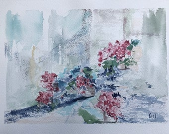 Geraniums (In Abstract), Watercolor Painting