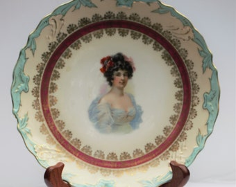 Vintage scarlet in crinoline plate decor lady Victorian collector gift wall decor