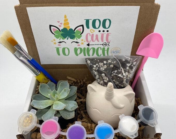Kids Unicorn Succulent Gift Box - St. Patrick's Day