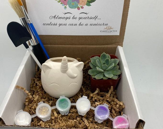 CUSTOM ORDER Sparkle  Unicorn Succulent Gift Box - Be Yourself Unicorn