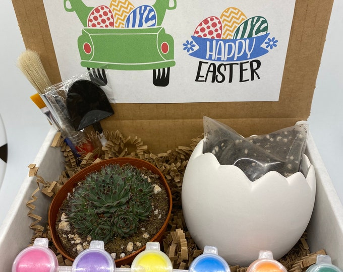 Kids Easter Succulent Gift Box - Happy Easter