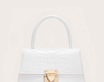 All White Animal Print Small Bag