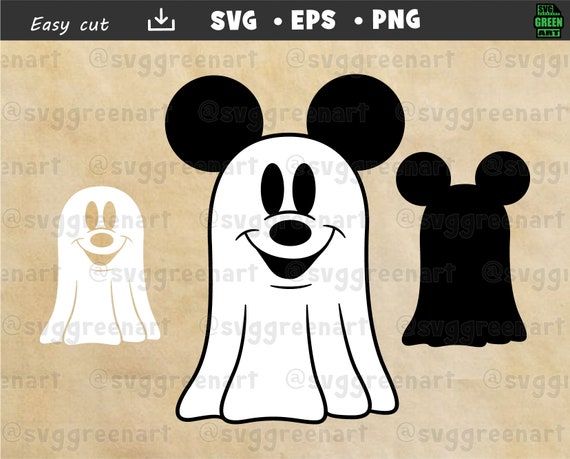 Ghost Mickey Mouse 1  Svg Png Vector Layered Clipart Cut