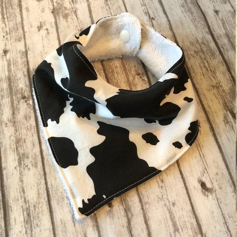 Terry Cow Print Animal 0-6mo Baby Bandana Bib Cotton Farm Animal Print SMALL