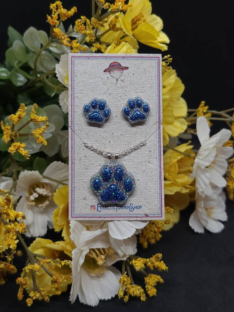 Glittery Resin Paw Print Jewelry sets Earrings and necklace