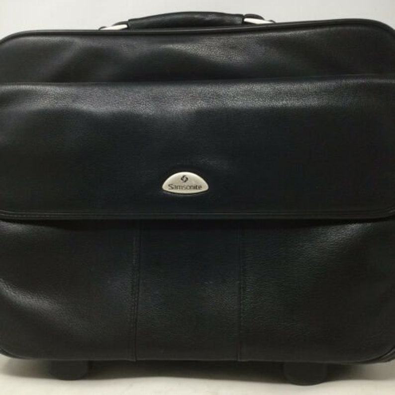 Samsonite Leather Laptop Carry On Briefcase Rolling Travel Bag 18\u201d Wide 15\u201d Tall