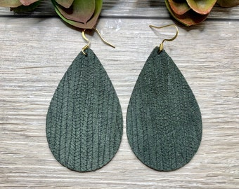 Embossed Leather Lightweight Leather Earrings Free Shipping