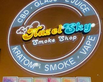 Smoke Shop Neon Sign   Tobacco CBD Cigars Smoke Shop Neon Light Sign   Tobacco Store Neon Light   Personalized Neon Sign for Stores