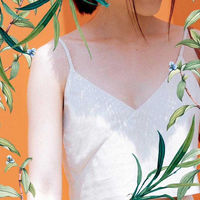 Linen crop top Basic linen top Linen camisole Linen tank top Linen strap top Soft linen clothing Washed linen top Linen cami