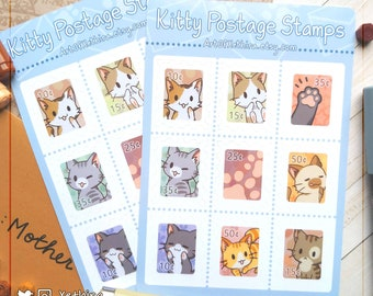 Cat Postage Stamps Sticker Sheet   Kitty   Cute Kawaii Stationery Journal Bujo Planner