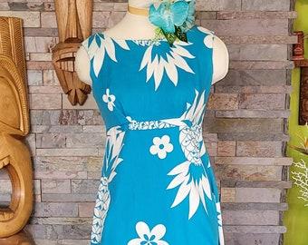 60's Made in Hawaii Maxi Dress & Hairclip for Tiki Oasis Tikiland Trading Pinup VLV
