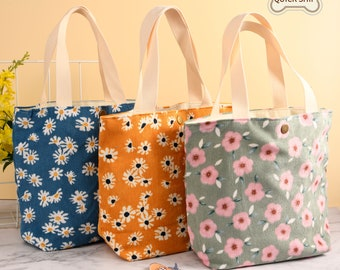 Birds lunch bag gift for her small tote bag little shopping bag small bag mini tote lunch tote bag lunch tote