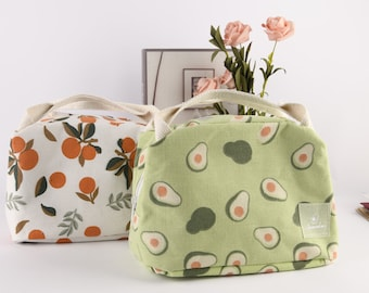 XL/M Orange/Avocado/Lemon/Peach Insulated Lunch Bag, Linen Lunch Box, Fruit Tote Bag With Zipper, Thanks Giving/Christmas Gift For Friend