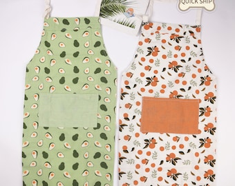Orange/Avocado/Lemon/Peach Linen Apron, Fruit Aprons For Women With Pocket,Washed Apron For Cooking, Thanks Giving/Christmas Gift For Friend