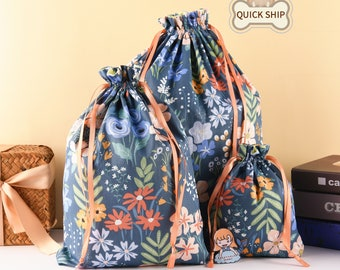 Colorful Flower Gift Bag, Christmas Gift Tote, Durable Drawstring Gift Bag, Cute Fabric Gift Tote, Premium Quality Thanks Giving Gift