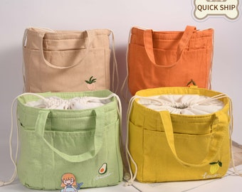 Orange/Avocado/Lemon/Peach Insulated Lunch Bag,Linen Lunch Box With Pockets, Drawstring Tote Bag, Keep Warm/ Cold Lunch Tote, Back To School