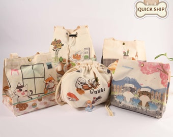Cat Insulated Lunch Bag, Canvas Tote Bag, Keep Warm/ Cold Lunch Tote, Japanese Handmade Picnic Bag, Thanks Giving/Christmas Gift For Friend