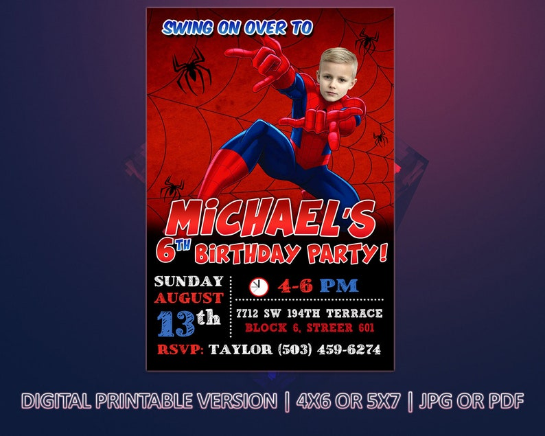 Spiderman Birthday invitation 4X6 or 5X7 Digital birthday invitation for kids Printable version