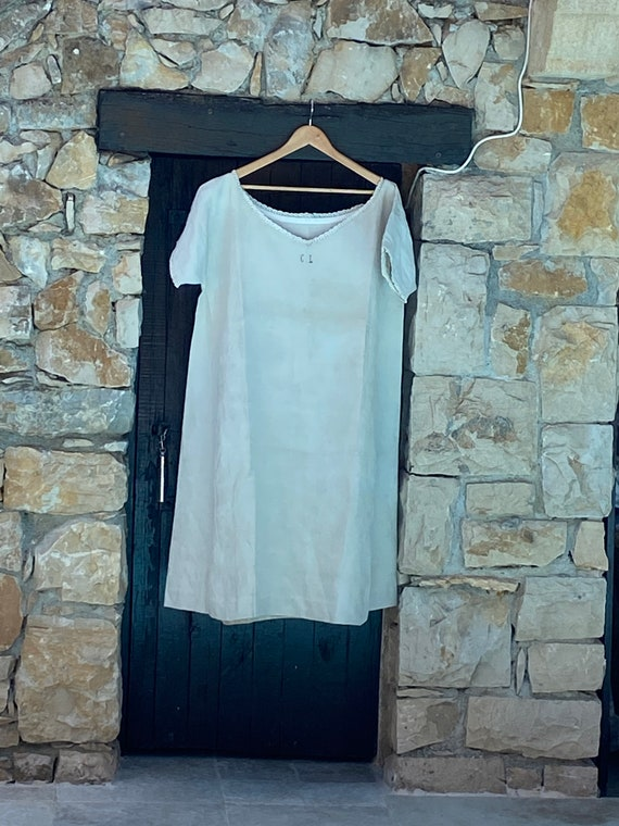 Pure linen French vintage dress, circa 1910