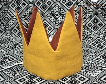 Fabric crown for kids Rainbow crown Reversible crown Baby crown Costume crown Birthday fabric crown Cotton crown Mustard crown