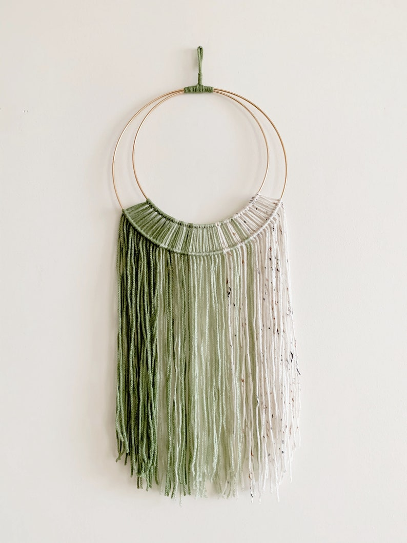 Green Hoop and Yarn Wall Hanging / Macrame Wall Hanging image 1