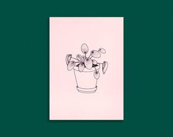 PLANT CARD A6 | pilea - soft pink