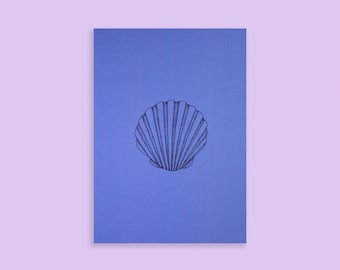 SHELL CARD A6 | lions scallop - blue