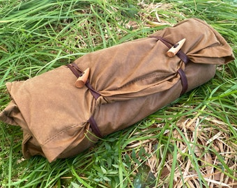 Bushcraft Spain Oilskin & Wool Nap-Sack, Pillow, Storage bag, Seat Pad, Working Surface and more! 100% leather straps and Olive Wood toggles
