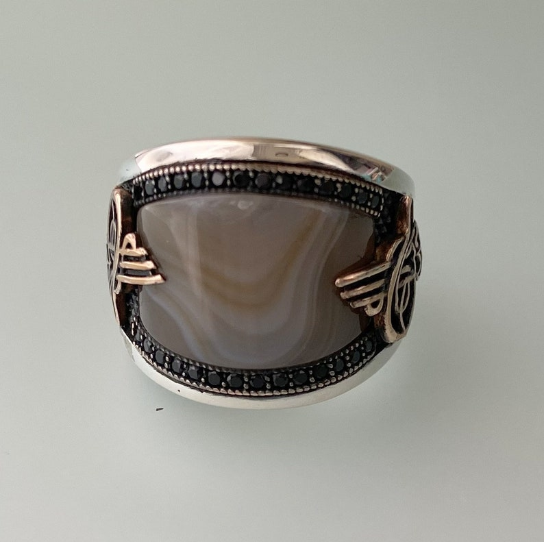 mens ring,silver mens ring,father/'s day gift for him,Silver agate Stone Men/'s Ring,gifts for her