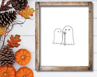 Halloween Art Print - Ghosts and Pitchfork