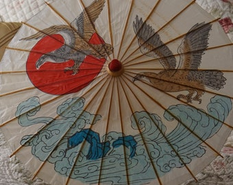 vintage Asian hand painted parasol