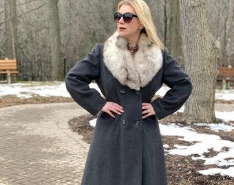 Grey wool coat fox fur collar