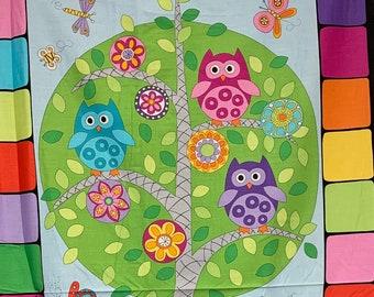 Hoot Hoot Family tree fabric panel from Makower