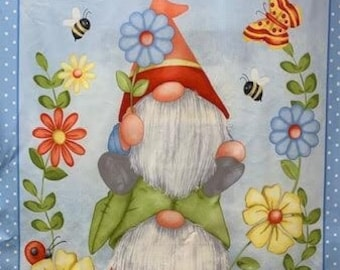 Gnome is Where the home is. Fabric Panel from Henry Glass with matching fabric