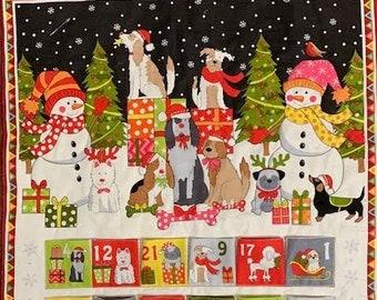 Yappy Christmas advent calendar fabric panel from Makower