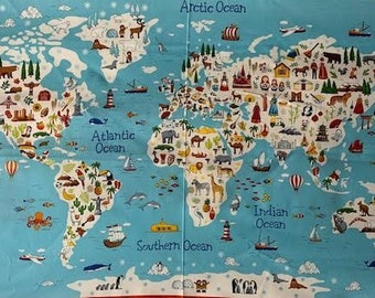 World Map fabric Panel and complimentary fabric from Makower fabrics