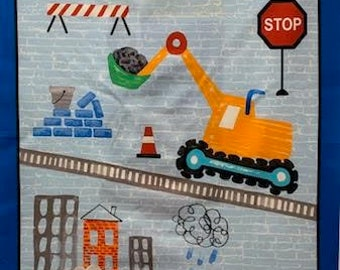 Diggers and Dumpers roadworks by Michael Miller. Fabric and panel