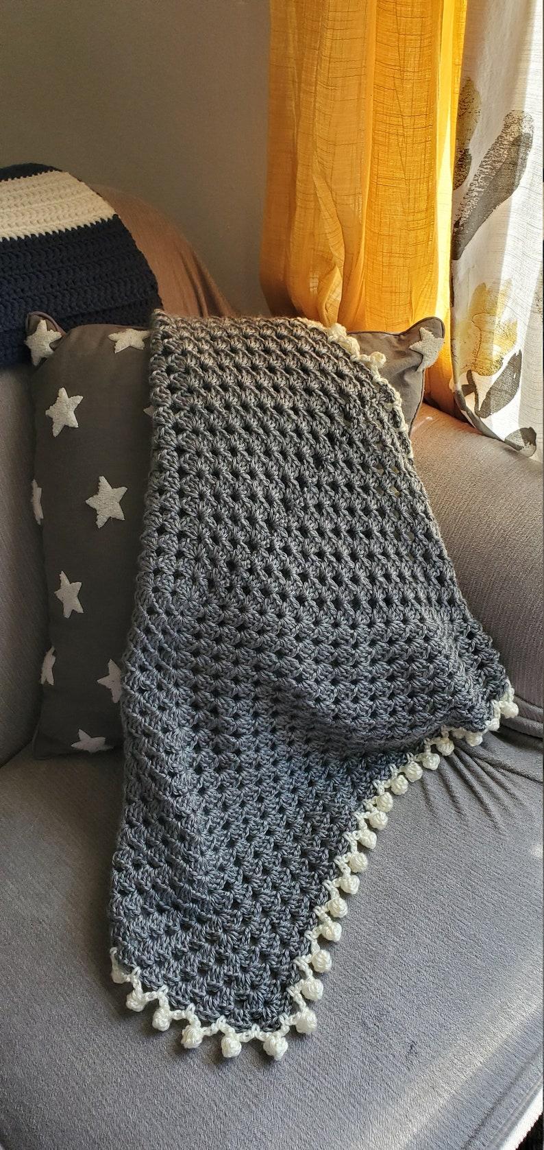 Granny Square Baby Blanket  Grey/Cream image 1