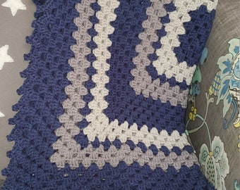 Granny Square Baby Blanket - Vintage Colors | Navy Blue, Grey(Light & Medium)