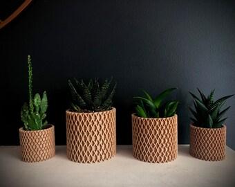 3D printed indoor planter / indoor plant pots, succulent pots, cacti pots, eco friendly, wooden plant pot, white plant pot, in the UK