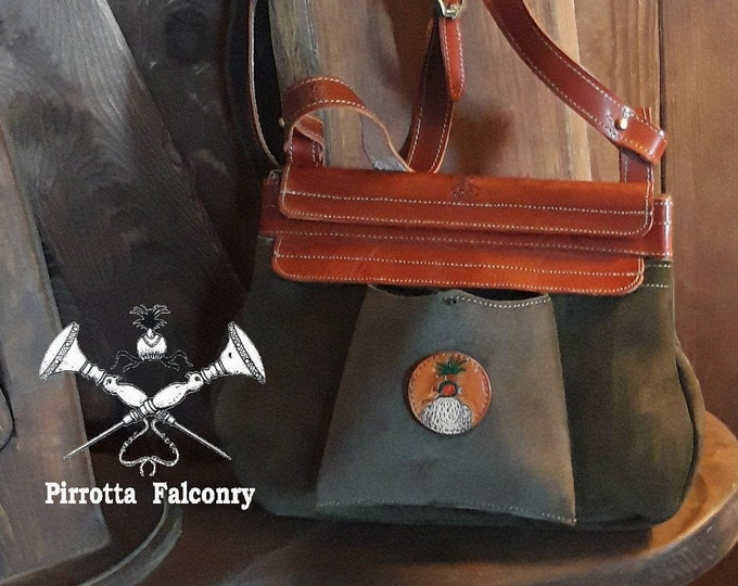 Featured listing image: Falconry bag - Leather bag - Belt bag - Hunting bag - Japanese Bag - Genuine Italian Leather - Personalized Belt Bag - Made in Italy