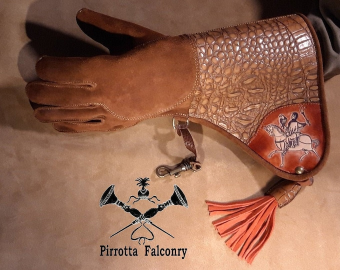 Featured listing image: Falconry Glove - Leather Falconry Glove - Falconry Equipment - Falconry Gift - Medieval - Handmade in Italy