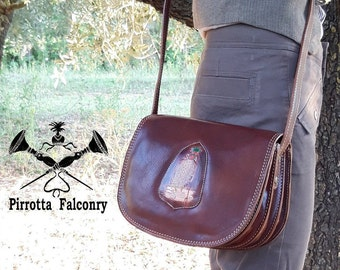 Leather bag - Falconry woman bag with shoulder strap - Falcon bag - Genuine Italian Leather - Personalized Belt Bag - Made in Italy