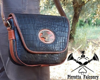 Leather shoulder bag - Woman bag - Falconry - Bag with hawk - Leather bag - Genuine Italian Leather - Made in Italy