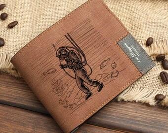 Diver Design Design Wallet for Men & Women | Diving Ocean Water Sport Gift Wallet | Underwater Scuba Diving Personalized Wallet | Gift Idea