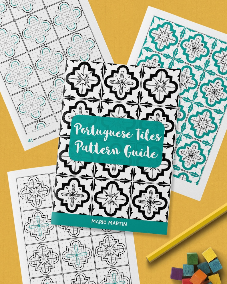 PORTUGUESE TILES Pattern Drawing Guide  How To Draw Decor image 0