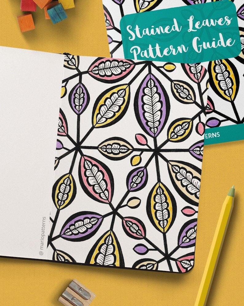 STAINED LEAVES Pattern Drawing Guide  How To Draw Botanical image 0