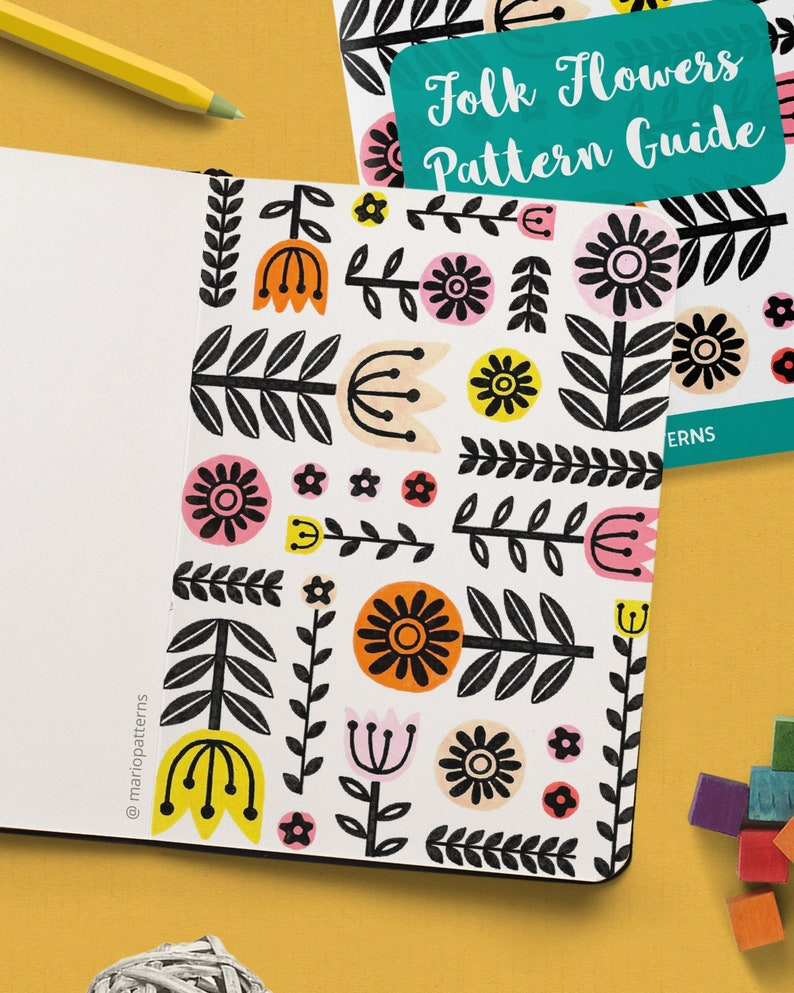 FOLK ART FLOWERS Pattern Drawing Guide  How To Draw Floral image 0