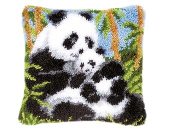 Pillowcase Embroidery Kits Cushion Cover Needlework Crafts for Home Decor Kitten 17X17 Inch Latch Hook Rug Kit