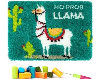 Tapestry Kits Latch Hook Rug Kits Carpet Embroidery Latch Hook Rug Needlework Button Package DIY Rugs Hook Rug Point Rug Llama